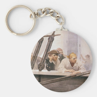 Vintage Pirates Brig Covenant in a Fog by NC Wyeth Basic Round Button Key Ring