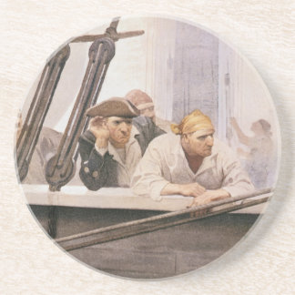 Vintage Pirates Brig Covenant in a Fog by NC Wyeth Coaster