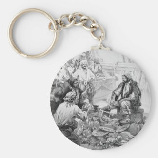 Vintage Pirates Counting their Treasures and Loot Basic Round Button Key Ring