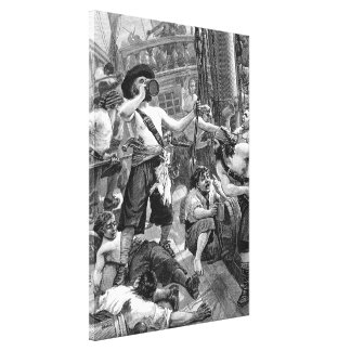 Vintage Pirates Drinking and Fighting on the Ship Gallery Wrap Canvas