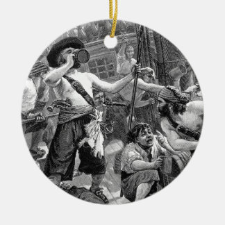 Vintage Pirates Fighting and Drinking on the Ship Round Ceramic Decoration