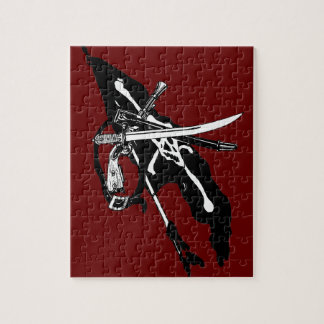 Vintage Pirates Flag, Jolly Roger Skull Crossbones Jigsaw Puzzle