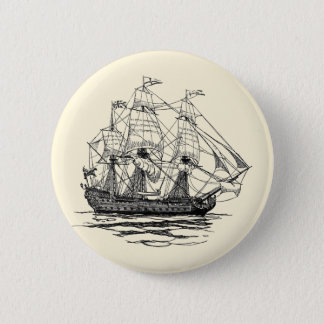 Vintage Pirates Galleon, Sketch of a 74 Gun Ship 6 Cm Round Badge