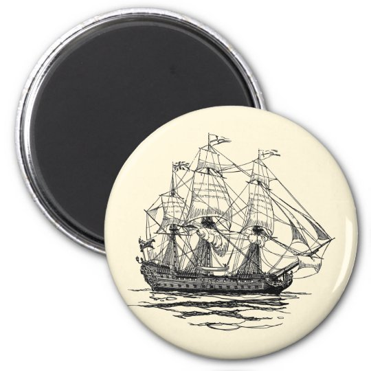 Vintage Pirates Galleon, Sketch of a 74 Gun Ship 6 Cm Round Magnet