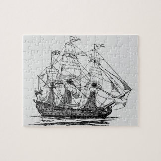 Vintage Pirates Galleon, Sketch of a 74 Gun Ship Jigsaw Puzzle