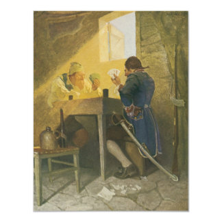 Vintage Pirates Gambling in Prison by NC Wyeth 11 Cm X 14 Cm Invitation Card
