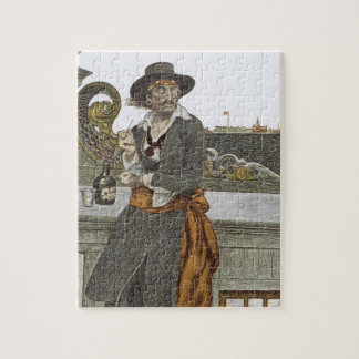 Vintage Pirates, Kidd on Deck of Adventure Galley Jigsaw Puzzle