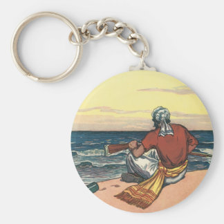 Vintage Pirates, Marooned on a Deserted Island Basic Round Button Key Ring