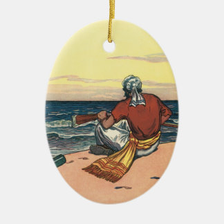 Vintage Pirates, Marooned on a Deserted Island Ceramic Oval Decoration