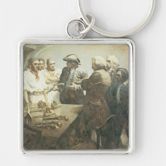 Vintage Pirates Preparing for the Mutiny, NC Wyeth Silver-Colored Square Key Ring
