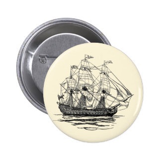 Vintage Pirates, Sketch of a 74 Gun Ship 6 Cm Round Badge