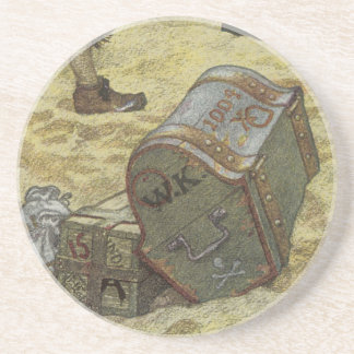 Vintage Pirates, William Kidd Burying Treasure Coaster