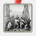 Vintage Pirates with Their Shipwrecked Pirate Boat Silver-Colored Square Decoration