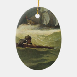 Vintage Pirates, Wreck of the Covenant by NC Wyeth Christmas Ornament