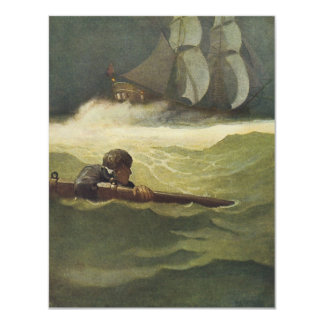 Vintage Pirates, Wreck of the Covenant by NC Wyeth 11 Cm X 14 Cm Invitation Card