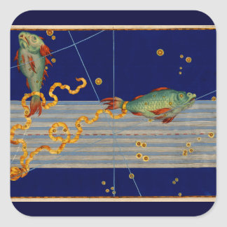 Vintage Pisces Star Chart Square Sticker