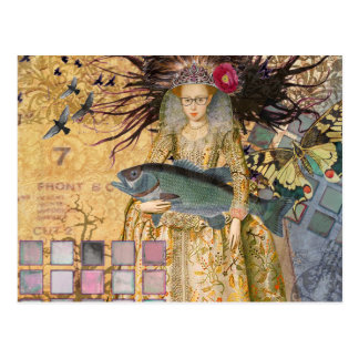 Vintage Pisces Whimsical Renaissance Gothic Fish Postcard