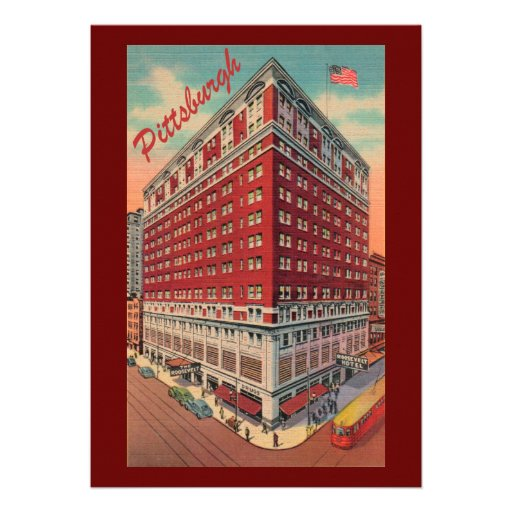 Vintage Pittsburgh Hotel Party Invitation