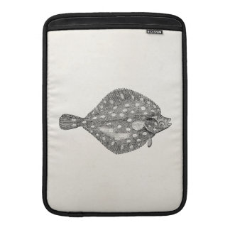 Vintage Plaice Flounder Fish Template Blank MacBook Sleeves