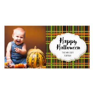 Vintage Plaid Stripes Halloween Picture Photo Card