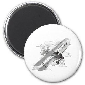 Vintage Plane 6 Cm Round Magnet