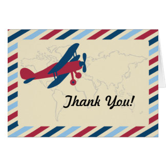 Vintage Plane Airmail Thank you Card