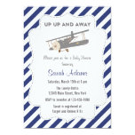 Vintage Plane Baby Shower Invitation Blue