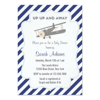 Vintage Plane Baby Shower Invitation Blue