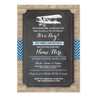 Vintage Plane Baby Shower Party Boy Wood Invite