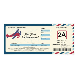 Vintage Plane Birthday Boarding Pass Ticket 10 Cm X 24 Cm Invitation Card