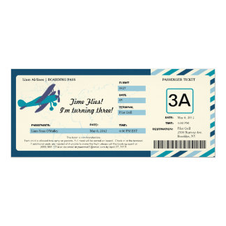 Vintage Plane Birthday Boarding Pass Ticket Card