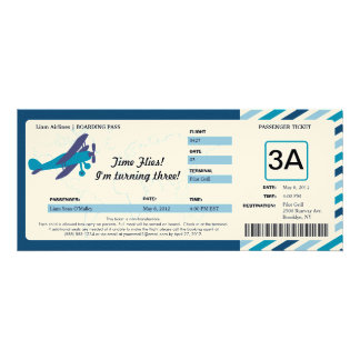 Vintage Plane Birthday Boarding Pass Ticket Personalized Invitations