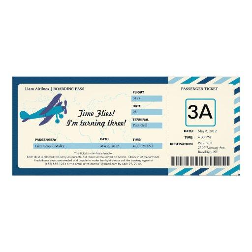Vintage Plane Birthday Boarding Pass Ticket Personalized Invitations