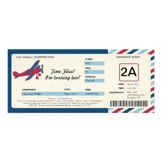 Vintage Plane Birthday Boarding Pass Ticket Invite