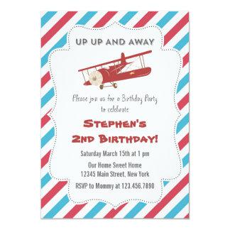 Vintage Plane Birthday Party Invitation