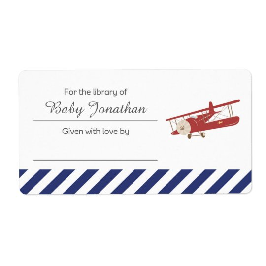 Vintage Plane Bookplate Label Sticker