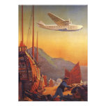 Vintage Plane Travelling on Vacation in the Orient Personalized Announcement