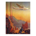 Vintage Plane Travelling on Vacation in the Orient Postcard