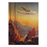 Vintage Plane Travelling on Vacation in the Orient Poster