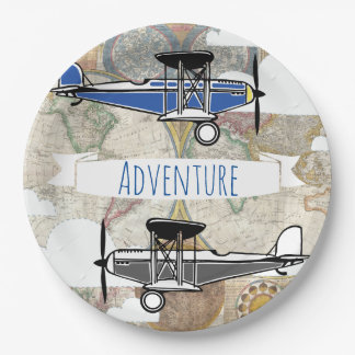 Vintage Planes & World Map Aviator Adventure Paper Plate