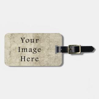 Vintage Plaster Brown Beige Tan Parchment Paper Luggage Tag