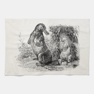 Vintage Platypus Porcupine Anteater Template Towel