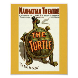 Vintage Play POSTER Image THE TURTLE w/ Hat & Cane