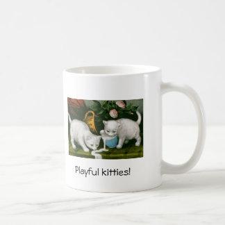 Vintage playful kittens cup basic white mug