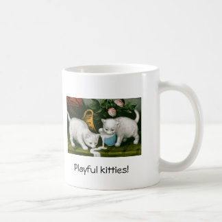 Vintage playful kittens cup classic white coffee mug