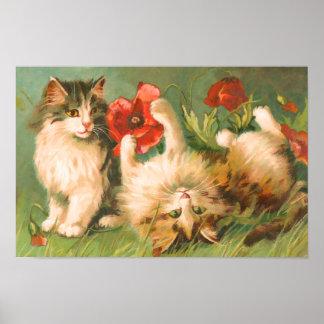 Vintage Playful Kittens Print