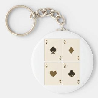 Vintage Playing Cards Basic Round Button Key Ring