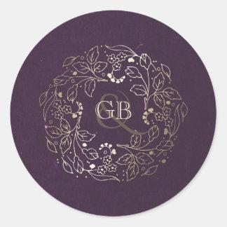 Vintage Plum and Gold Floral Wreath Wedding Classic Round Sticker