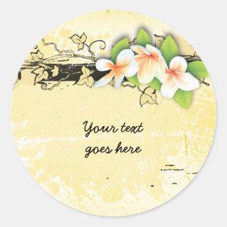 Vintage plumeria/frangipani and ivy yellow sticker