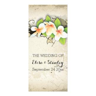Vintage plumeria & ivy beige wedding program full color rack card